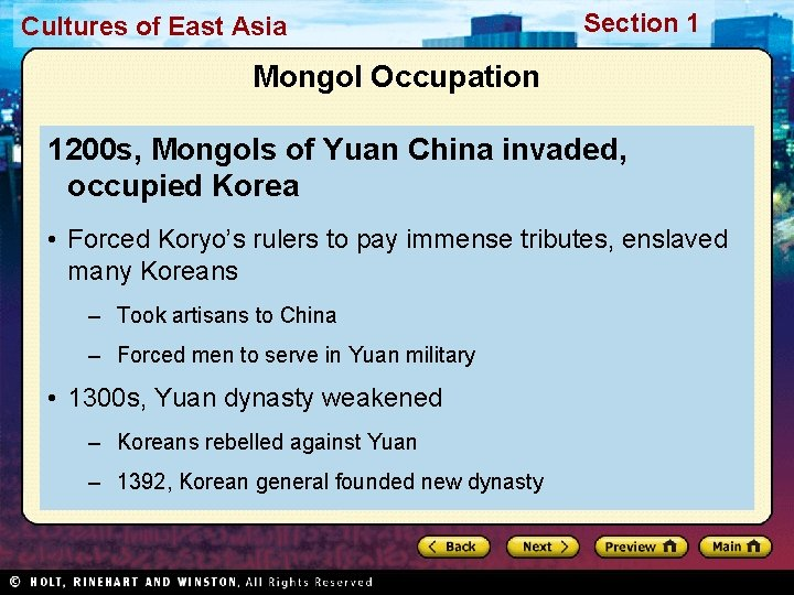 Cultures of East Asia Section 1 Mongol Occupation 1200 s, Mongols of Yuan China