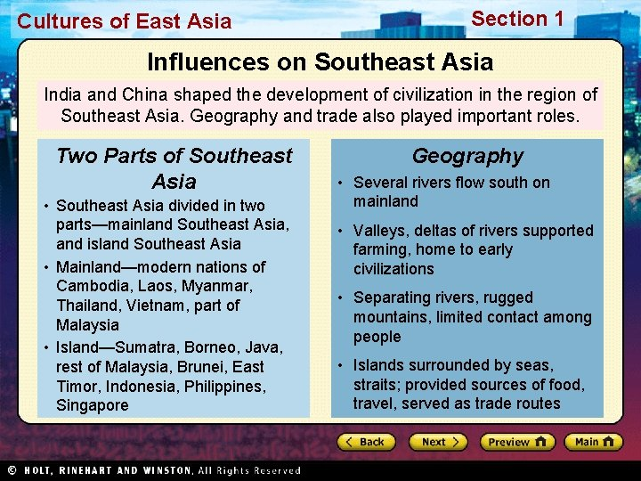 Cultures of East Asia Section 1 Influences on Southeast Asia India and China shaped