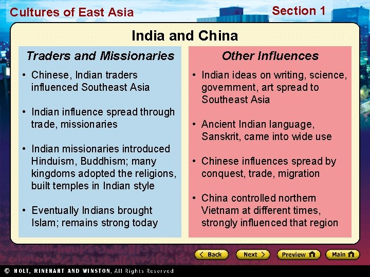 Section 1 Cultures of East Asia India and China Traders and Missionaries • Chinese,