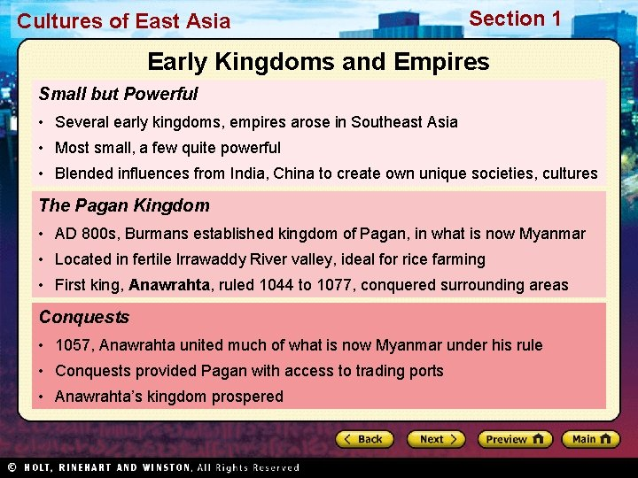 Cultures of East Asia Section 1 Early Kingdoms and Empires Small but Powerful •