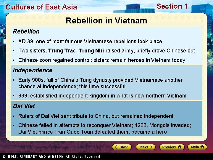 Cultures of East Asia Section 1 Rebellion in Vietnam Rebellion • AD 39, one