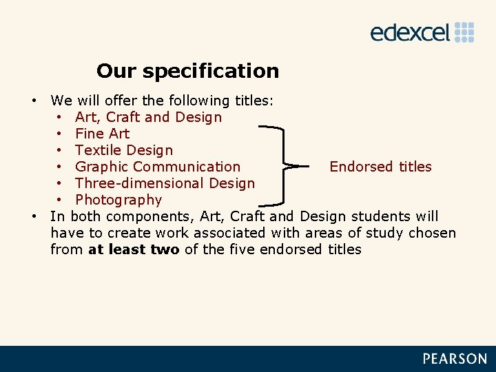 Our specification • We will offer the following titles: • Art, Craft and Design