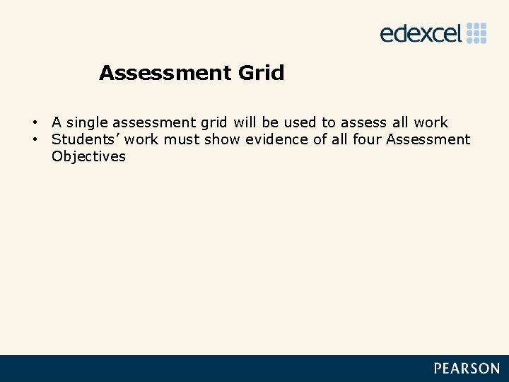 Assessment Grid • A single assessment grid will be used to assess all work