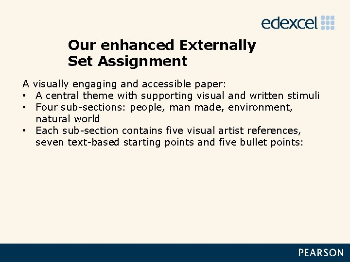 Our enhanced Externally Set Assignment A visually engaging and accessible paper: • A central