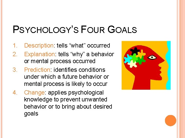 """PSYCHOLOGY'S FOUR GOALS 1. 2. 3. 4. Description: tells """"what"""" occurred Explanation: tells """"why"""""""