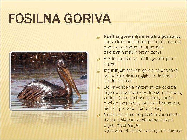 FOSILNA GORIVA Fosilna goriva ili mineralna goriva su goriva koja nastaju od prirodnih resursa