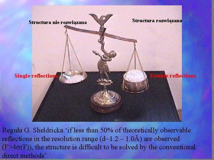 Structura nie rozwiązana Single reflections Structura rozwiązana Double reflections Reguła G. Sheldricka 'if less