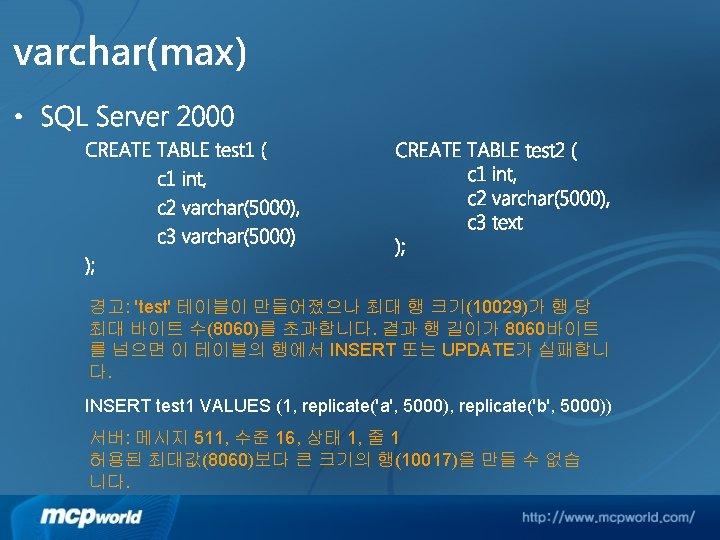 varchar(max) • SQL Server 2000 CREATE TABLE test 1 ( c 1 int, c