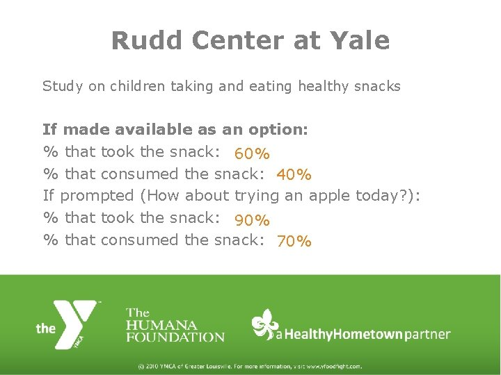 Rudd Center at Yale Study on children taking and eating healthy snacks If made