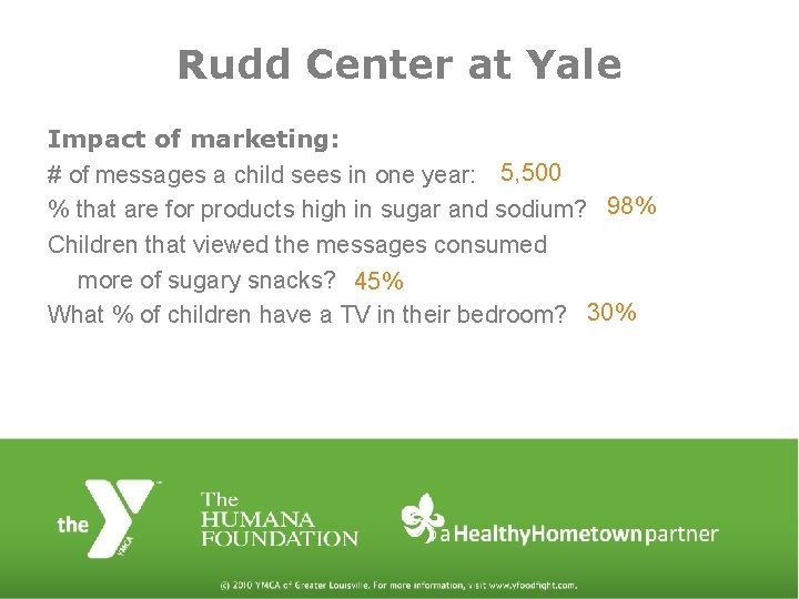 Rudd Center at Yale Impact of marketing: # of messages a child sees in