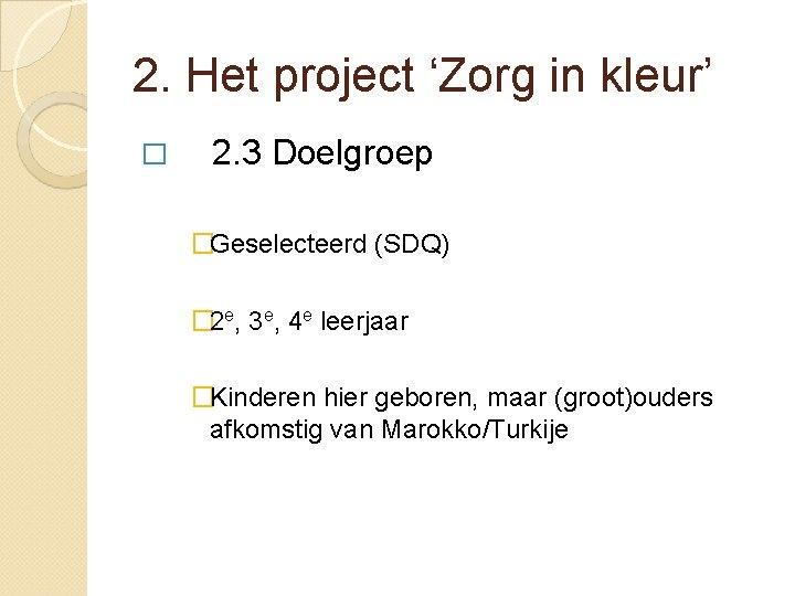 2. Het project 'Zorg in kleur' � 2. 3 Doelgroep �Geselecteerd (SDQ) � 2