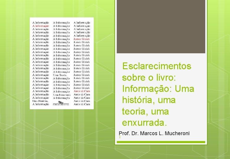 Esclarecimentos sobre o livro: Informação: Uma história, uma teoria, uma enxurrada. Prof. Dr. Marcos