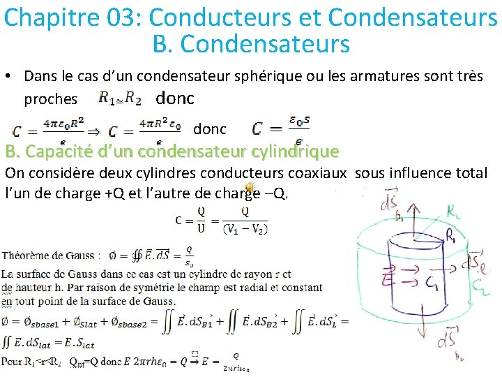 Chapitre 03: Conducteurs et Condensateurs B. Condensateurs • Dans le cas d'un condensateur sphérique
