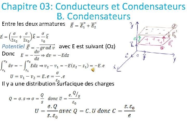 Chapitre 03: Conducteurs et Condensateurs B. Condensateurs Entre les deux armatures Potentiel Donc avec