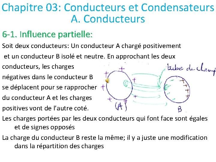 Chapitre 03: Conducteurs et Condensateurs A. Conducteurs 6 -1. Influence partielle: Soit deux conducteurs: