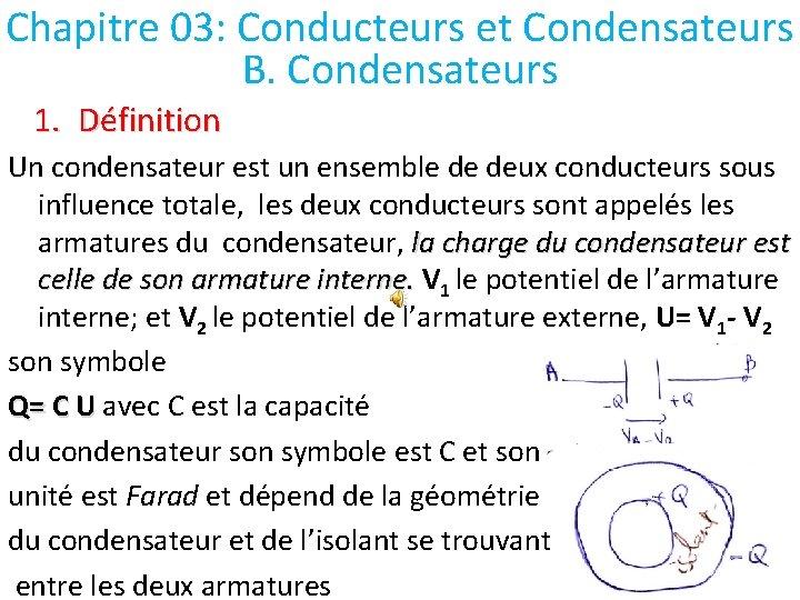 Chapitre 03: Conducteurs et Condensateurs B. Condensateurs 1. Définition Un condensateur est un ensemble