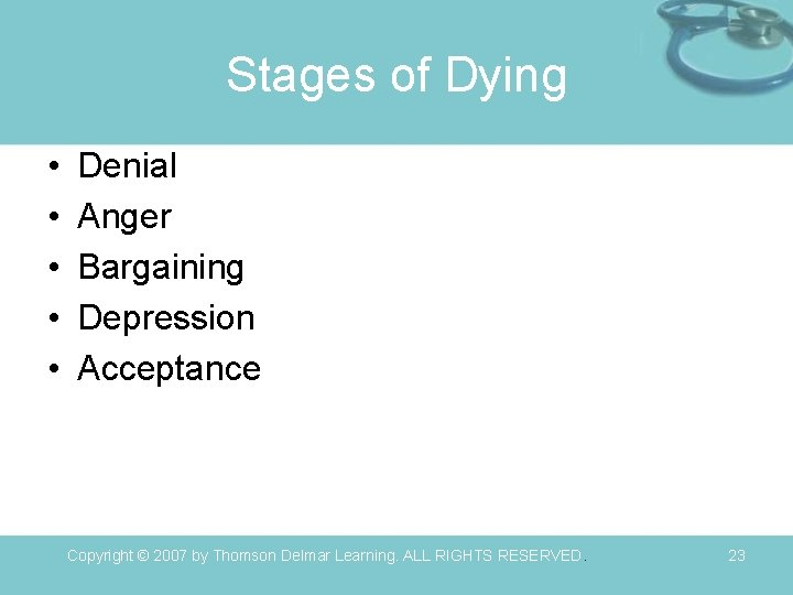 Stages of Dying • • • Denial Anger Bargaining Depression Acceptance Copyright © 2007