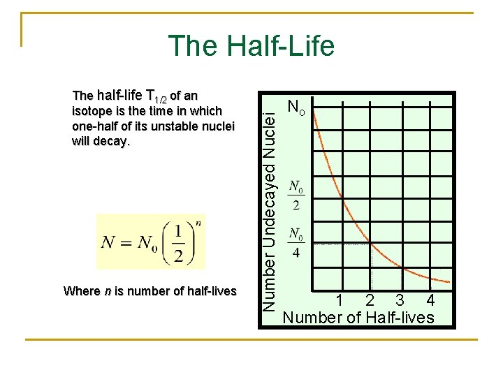 The half-life T 1/2 of an isotope is the time in which one-half of