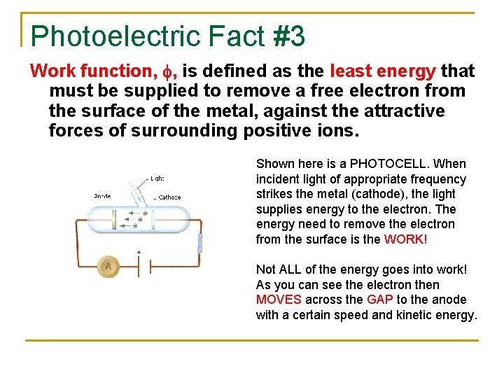 Photoelectric Fact #3 Work function, f, is defined as the least energy that must