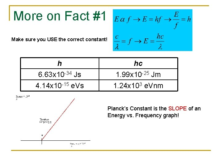 More on Fact #1 Make sure you USE the correct constant! h 6. 63