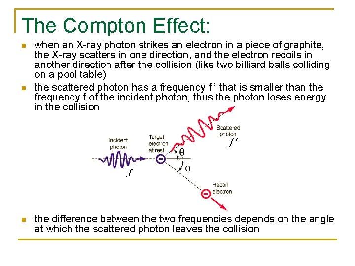 The Compton Effect: n n n when an X-ray photon strikes an electron in