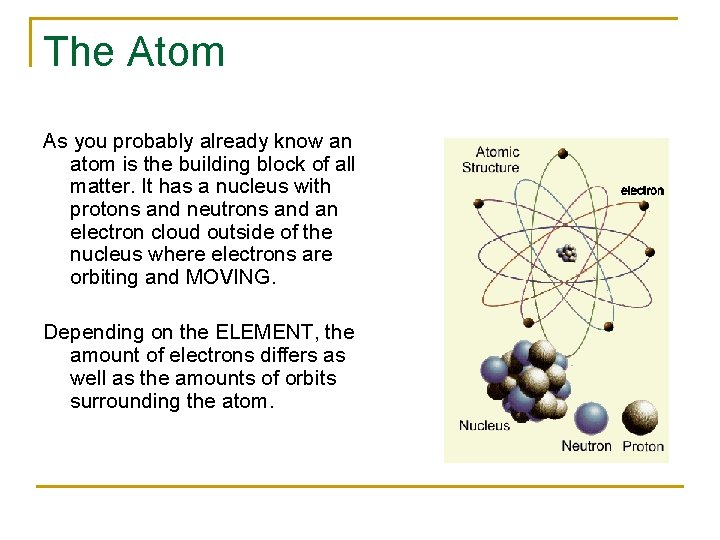 The Atom As you probably already know an atom is the building block of