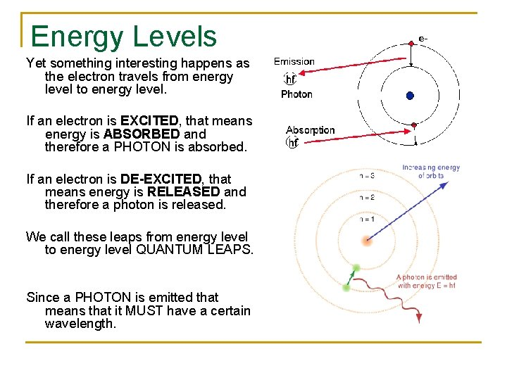 Energy Levels Yet something interesting happens as the electron travels from energy level to