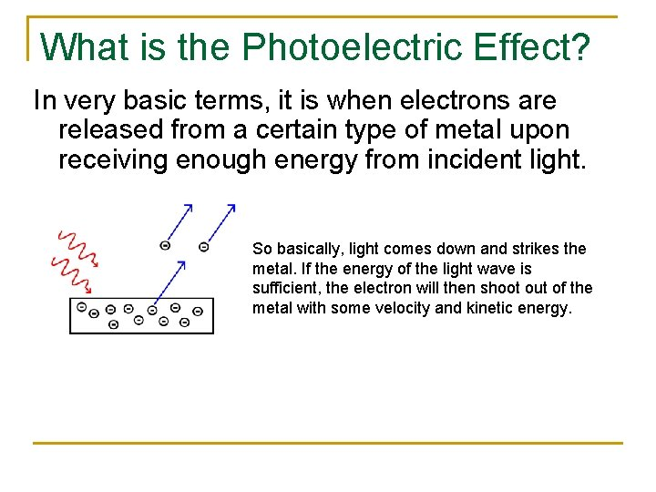 What is the Photoelectric Effect? In very basic terms, it is when electrons are