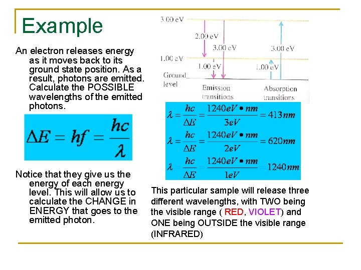 Example An electron releases energy as it moves back to its ground state position.