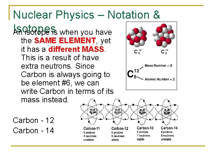 Nuclear Physics – Notation & Isotopes An isotope is when you have the SAME