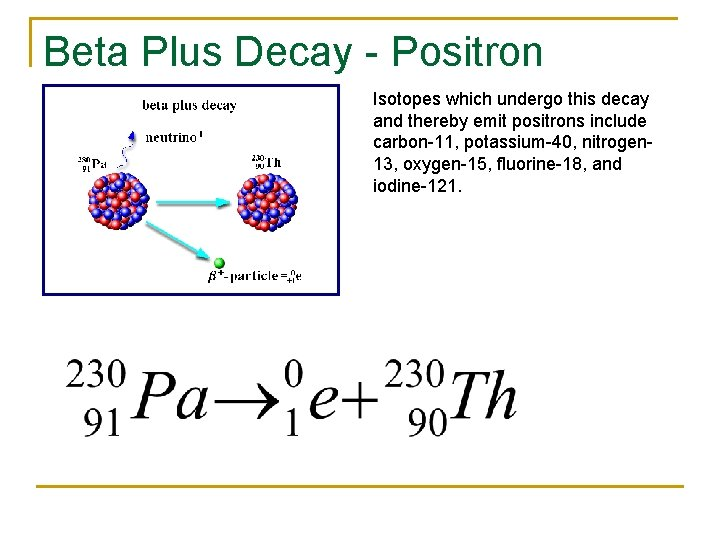 Beta Plus Decay - Positron Isotopes which undergo this decay and thereby emit positrons
