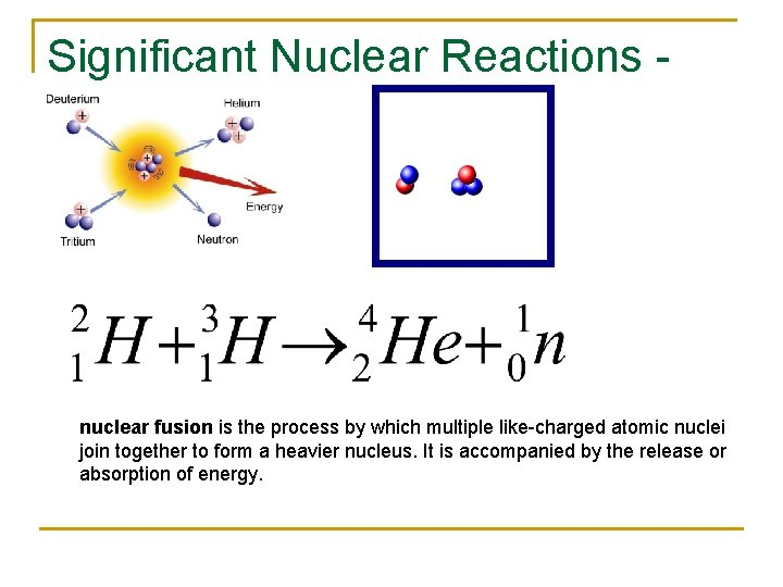 Significant Nuclear Reactions - Fusion nuclear fusion is the process by which multiple like-charged
