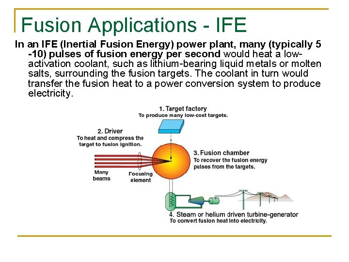 Fusion Applications - IFE In an IFE (Inertial Fusion Energy) power plant, many (typically