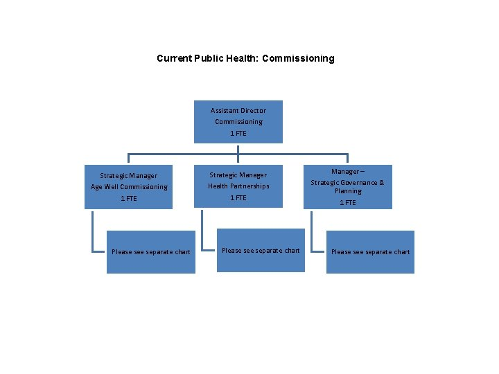 Current Public Health: Commissioning Assistant Director Commissioning 1 FTE Strategic Manager Age Well Commissioning