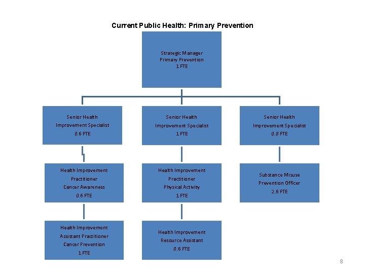 Current Public Health: Primary Prevention Strategic Manager Primary Prevention 1 FTE Senior Health Improvement