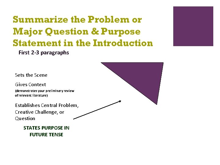 Summarize the Problem or Major Question & Purpose Statement in the Introduction First 2