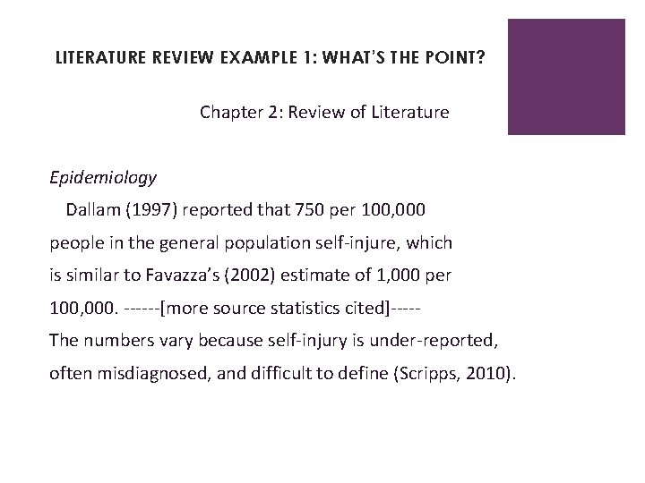 LITERATURE REVIEW EXAMPLE 1: WHAT'S THE POINT? Chapter 2: Review of Literature Epidemiology Dallam