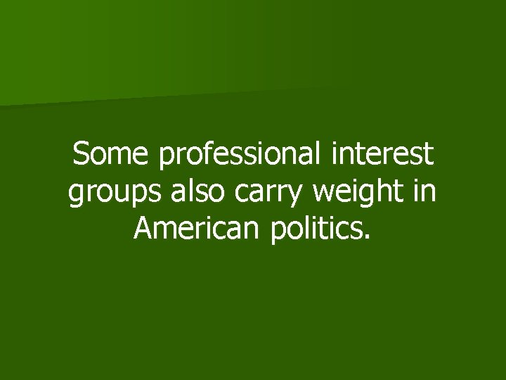Some professional interest groups also carry weight in American politics.