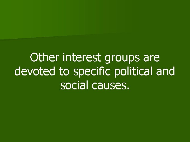 Other interest groups are devoted to specific political and social causes.