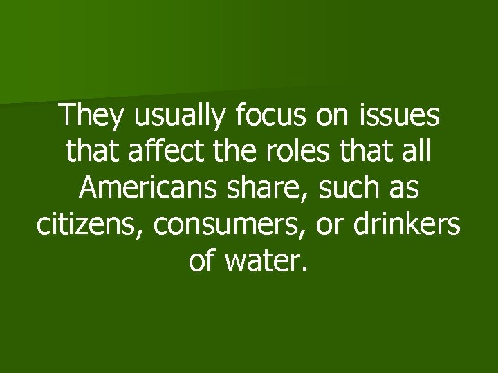 They usually focus on issues that affect the roles that all Americans share, such