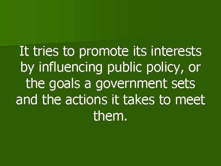 It tries to promote its interests by influencing public policy, or the goals a