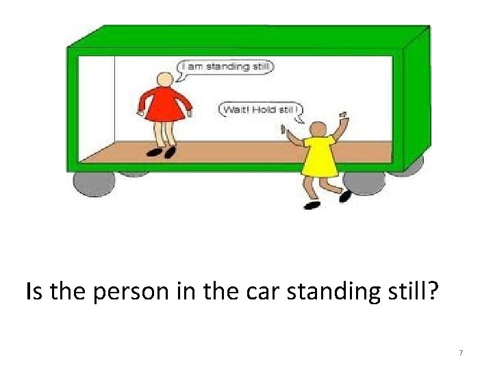 Is the person in the car standing still? 7