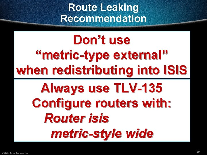 Integratedisis Route Leaking 2000 Cisco Systems Inc 1