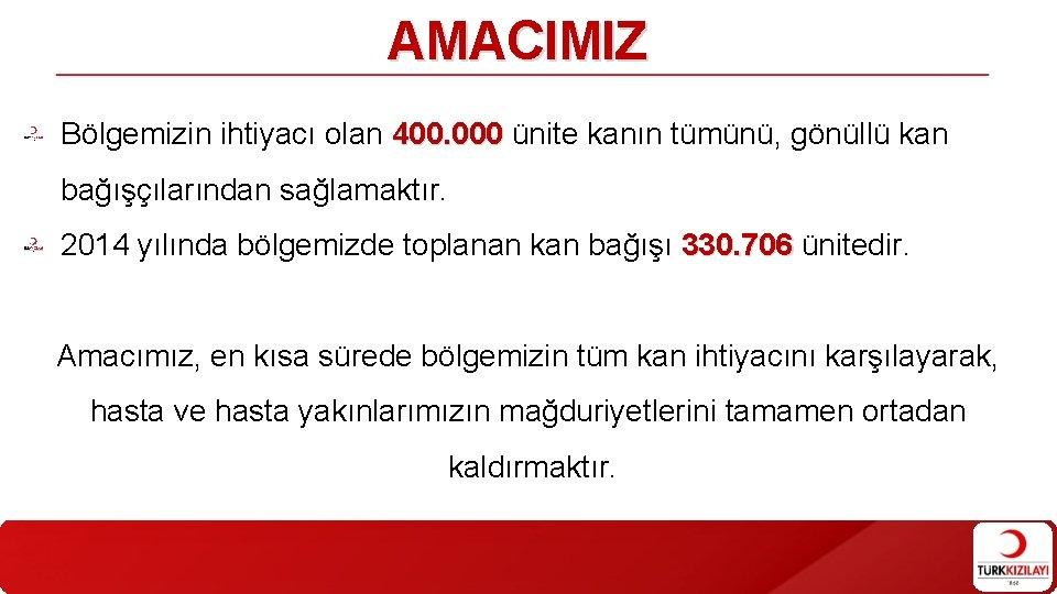 AMACIMIZ Bölgemizin ihtiyacı olan 400. 000 ünite kanın tümünü, gönüllü kan bağışçılarından sağlamaktır. 2014