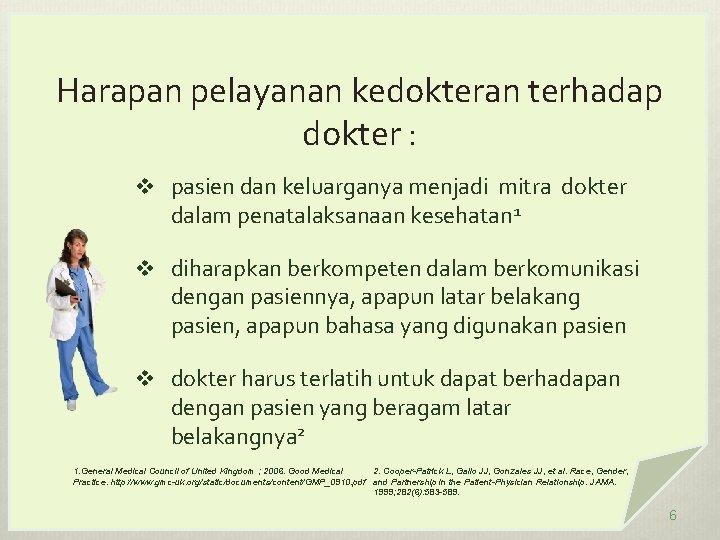Harapan pelayanan kedokteran terhadap dokter : v pasien dan keluarganya menjadi mitra dokter dalam