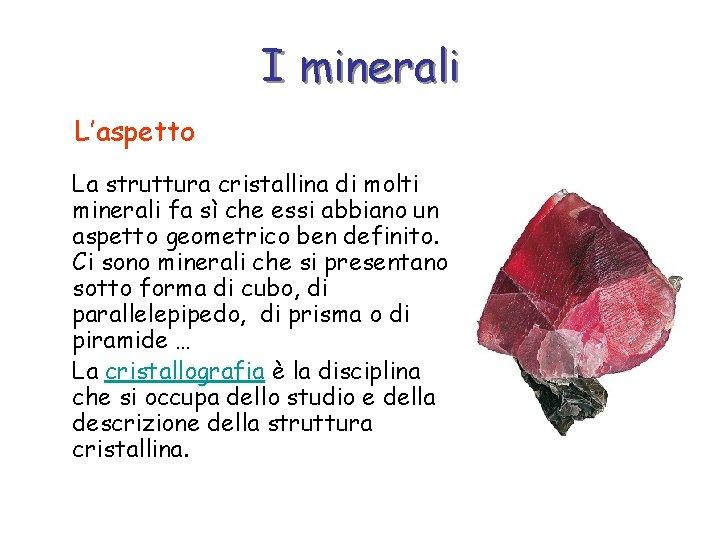 I minerali L'aspetto La struttura cristallina di molti minerali fa sì che essi abbiano