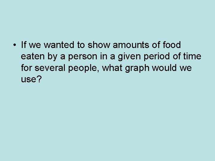 • If we wanted to show amounts of food eaten by a person