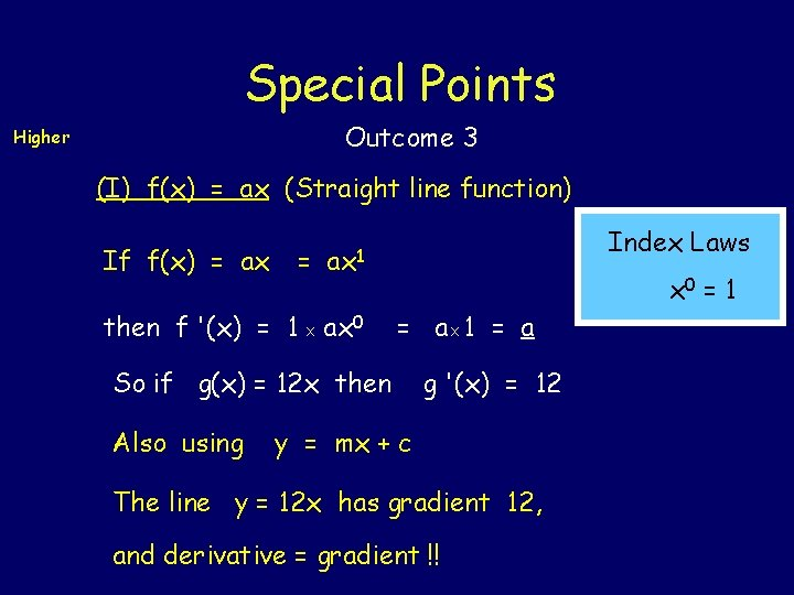 Special Points Outcome 3 Higher (I) f(x) = ax (Straight line function) If f(x)