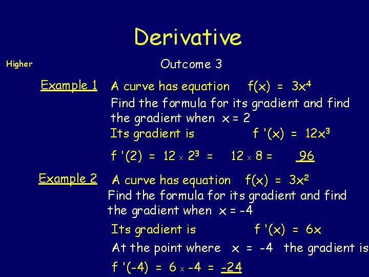 Derivative Outcome 3 Higher Example 1 A curve has equation f(x) = 3 x
