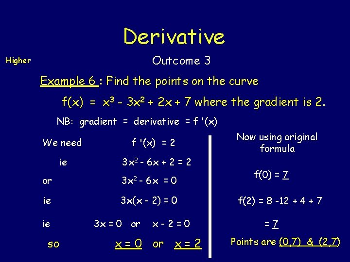 Derivative Outcome 3 Higher Example 6 : Find the points on the curve f(x)